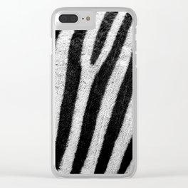 Black & White Zebra Print Pattern Texture Animal Print Clear iPhone Case