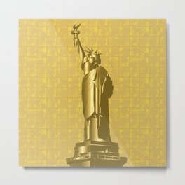 Gold Statue of Liberty on the Gold-leaf Screen Metal Print