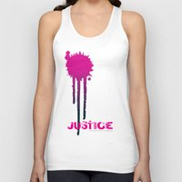 justice league Tank Tops featuring JUSTICE by TheCore