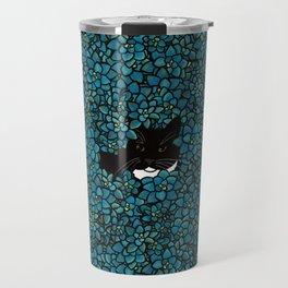 Tuxedo Cat Hiding In Succulents Travel Mug
