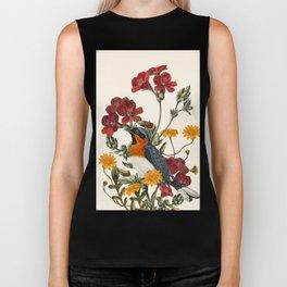 Little Bird and Flowers Biker Tank