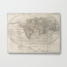 Vintage Map of The World (1621) Metal Print