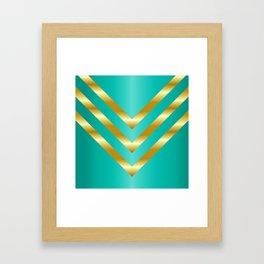 Gold strips on royal green gradient Framed Art Print