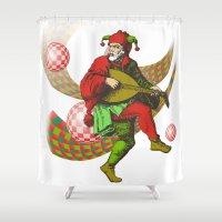 clown Shower Curtains featuring clown by Elena Trupak