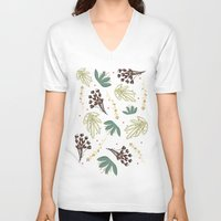 leaf V-neck T-shirts featuring leaf by Ceren Aksu Dikenci