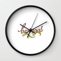 bazinga Wall Clocks featuring Bazinga! by Spooky Dooky
