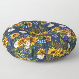 Modern yellow orange blue watercolor sunflower floral pattern Floor Pillow