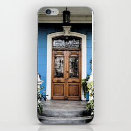 vintage blue house iPhone Skin
