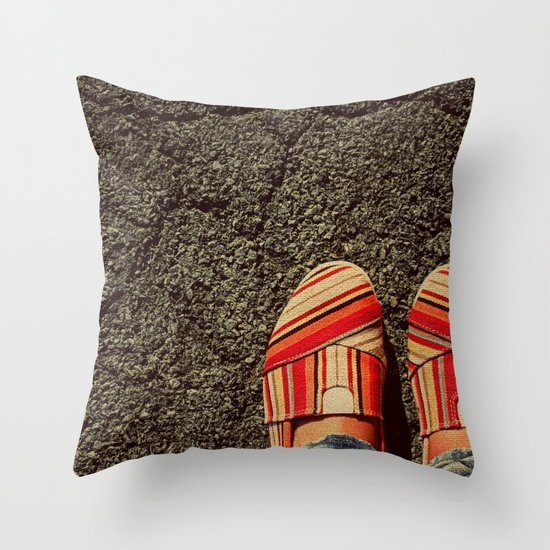 Shoes on Cement Throw Pillow