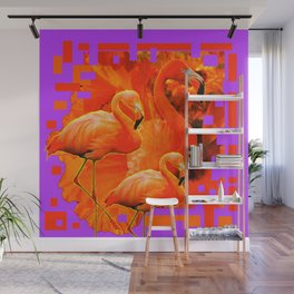PANTENE ULTRA VIOLET PURPLE  FLAMINGOS ART DESIGN Wall Mural