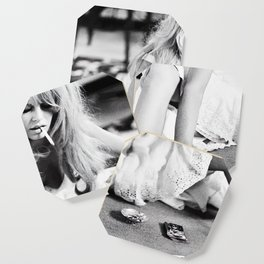 Brigitte Bardot Playing Cards, Black and White Photograph Coaster