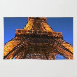 Eiffel Tower Paris art, blue sky, night,sunset in Paris, French Rug