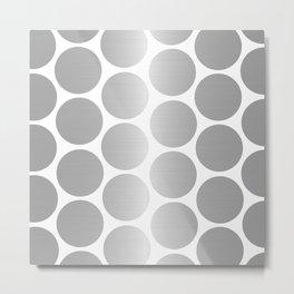 Silver Metallic Circles Dots Metal Print