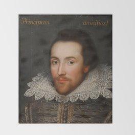 Vintage William Shakespeare Portrait Throw Blanket