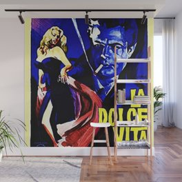 Vintage 1960 Fellini Lithograph Movie Poster Wall Art Wall Mural