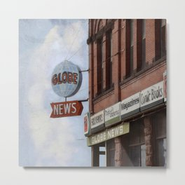 Superior Globe Retro News Metal Print