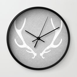 White & Grey Antlers Wall Clock