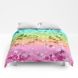 Rainbow Stars Glitter #1 #shiny #decor #art #society6 Comforters