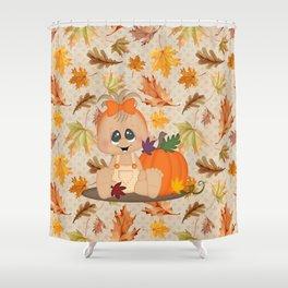 Fall Pumpkin Girl Shower Curtain