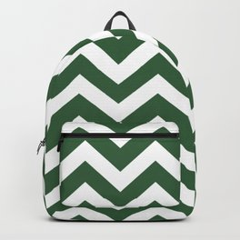 Hunter green - green color - Zigzag Chevron Pattern Backpack