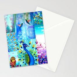 Aqua collage Stationery Cards