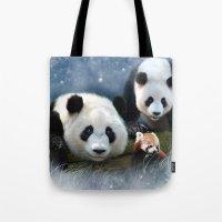 pandas Tote Bags featuring Pandas by Julie Hoddinott