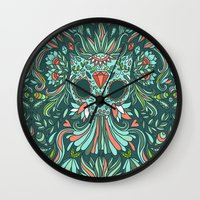 calavera Wall Clocks featuring Calavera Cat by Anna Alekseeva kostolom3000