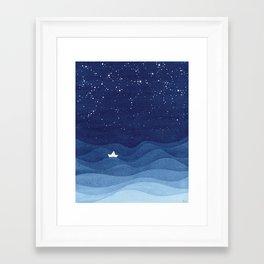 blue ocean waves, sailboat ocean stars Framed Art Print
