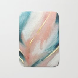 Celestial [3]: a minimal abstract mixed-media piece in Pink, Blue, and gold by Alyssa Hamilton Art Bath Mat