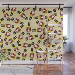 Small Nutcracker Christmas pattern Design beige Wall Mural