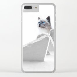 White Cat on the Roof Clear iPhone Case