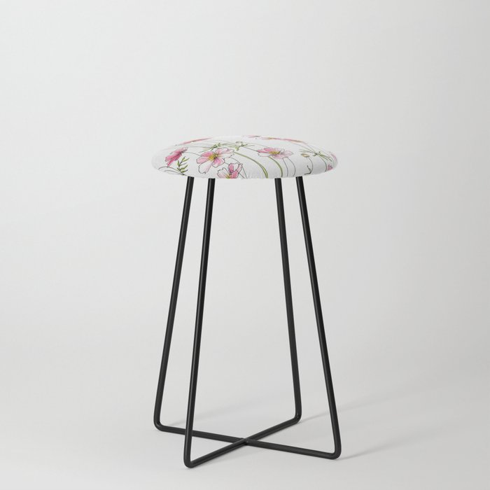 Pink Cosmos Flowers Counter Stool