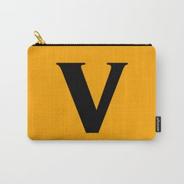v (BLACK & ORANGE LETTERS) Carry-All Pouch