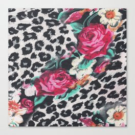 Vintage black white pink floral cheetah animal print Canvas Print