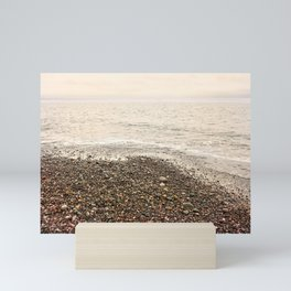 Dungeness Shoreline, Pebble Beach, Washington Seascape, Juan de Fuca, Coastal Photography Mini Art Print