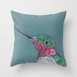 Ruby Throated Hummingbird Portrait Throw Pillow