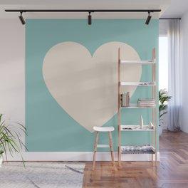 One Teal Heart Wall Mural