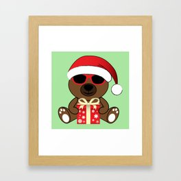 Cool Santa Bear with sunglasses and gift Framed Art Print