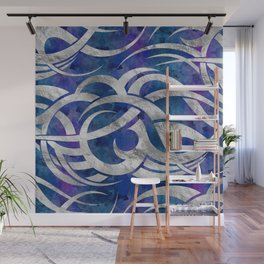 Abstract Maori curve shapes - Silver & Purple Wall Mural
