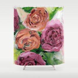 Peachy Keen Spring Floral Bouquet Shower Curtain