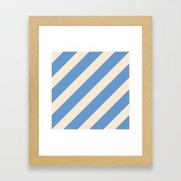 Antique White and Blue Grey Diagonal Stripes Framed Art Print