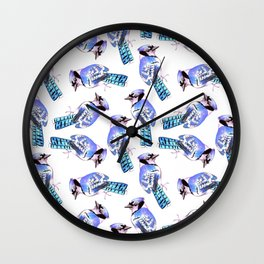 Blue Jay or Cyanocitta cristata watercolor birds painting Wall Clock