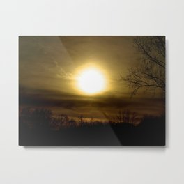 Spooky Sunset Sky With Tree Photograph Metal Print