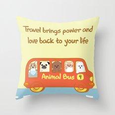 Animal bus no.9 Throw Pillow
