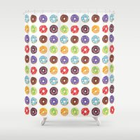 doughnut Shower Curtains featuring Doughnut delights by Phibbit