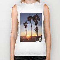 santa monica Biker Tanks featuring LA: Santa Monica Beach by Adam Stuart