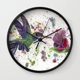 Hummingbird with Flower Wall Clock