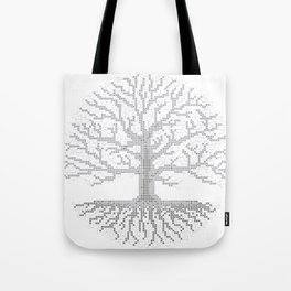 Pixel Art - Cross Stitch Chart - Grey Tree of Life - Tote Bag