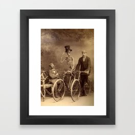 Skeleton Bicycling in the Park with a Friend black and white vintage photography / photographs Framed Art Print