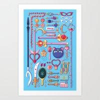 arsenal Art Prints featuring Magical Arsenal Blue by Paulina Ganucheau